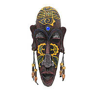 Настінна маска тубілець 20х9х3.5 см жовтий малюнок (43707.001)
