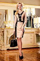 Платье футляр из стрейчевого трикотажа с кожаными вставками, визуально стройнит фигуру, 46-52 размеры