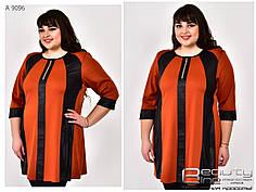 Женская туника с эффектом зрительной коррекции  батал в 2-ух цветах с 62 по 72 размер, фото 2