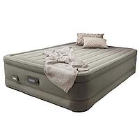 Двухспальная надувная флокированная кровать Intex 64770, серая, со встроенным насосом 220V, 203 х 152 х 46 см