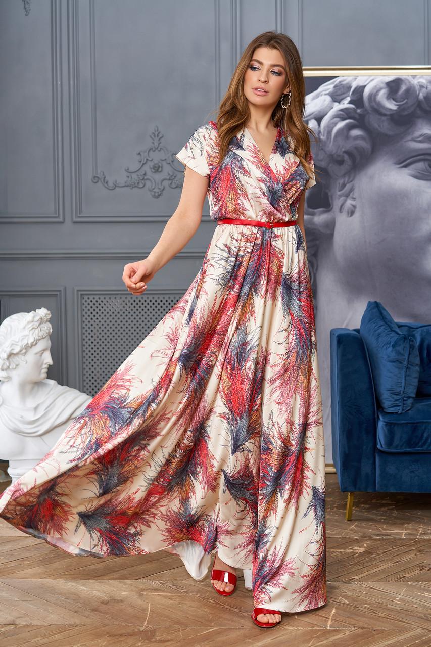 Шелковое женское платье в пол с принтом, цвет золото