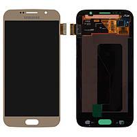 Дисплейный модуль (дисплей + сенсор) для Samsung Galaxy S6 G920F, золотистый, оригинал