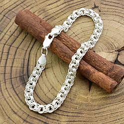 Серебряный браслет Тройной Бисмарк длина 20 см ширина 6 мм вес серебра 10.5 г
