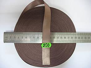 Лента атласная двухсторонняя 20мм, цвет коричневый, Турция