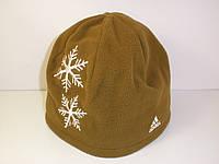 Шапка Adidas флисовая коричневая со снежинками P40823