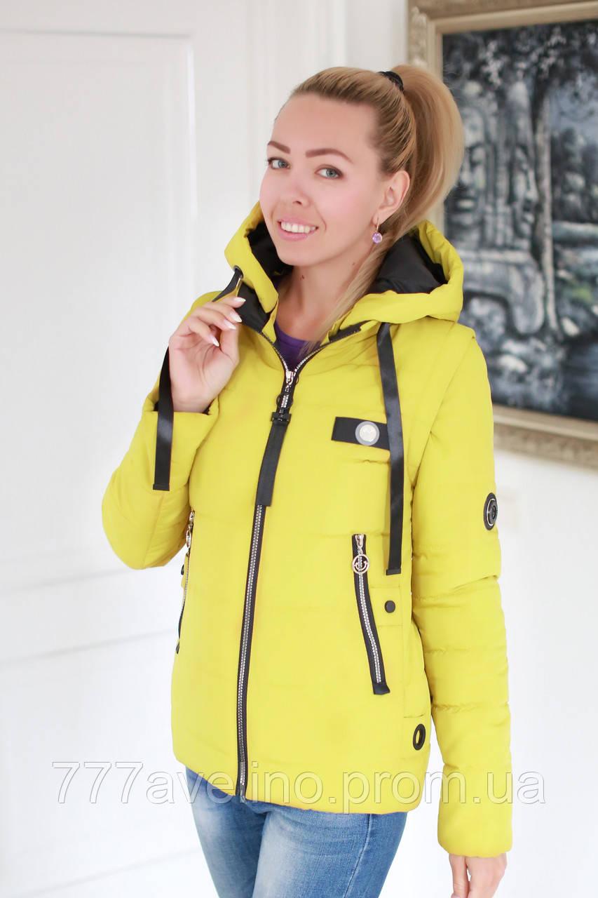 Куртка жіноча демісезонна трансформер в жилет розмір 42, 44, 46