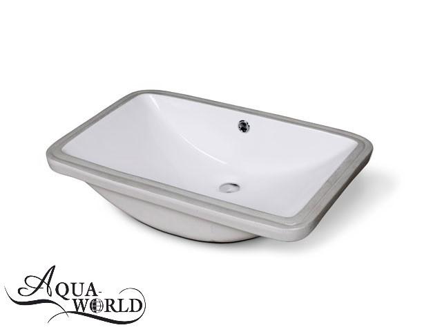 Умывальник под столешницу квадратный 590 х 378 мм врезной Aqua-World