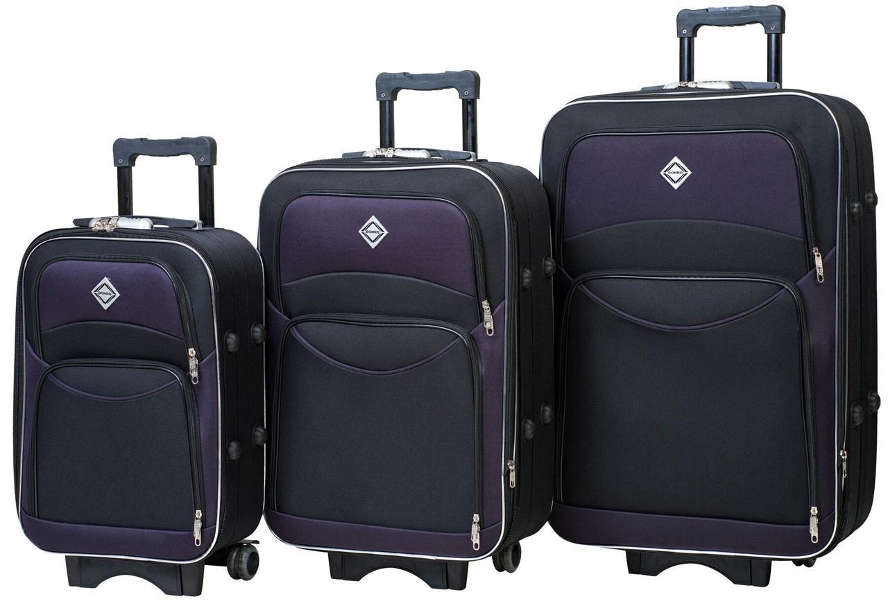 Набор чемоданов 3 шт. дорожных на колесах тканевый черно-фиолетовый