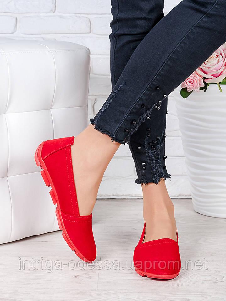 Туфли мокасины красная замша 7025-28
