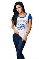 Женская спортивная хлопковая футболка приталенного силуэта белая и цвет электрик