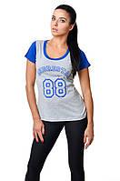 Женская спортивная хлопковая футболка приталенного силуэта цвета меланж и электрик