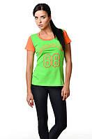 Женская спортивная хлопковая футболка приталенного силуэта салатовая