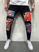 Джинсы мужские чёрные зауженные с красным рисунком Модные чёрные джинсы мужские зауженные с принтом 32 р.
