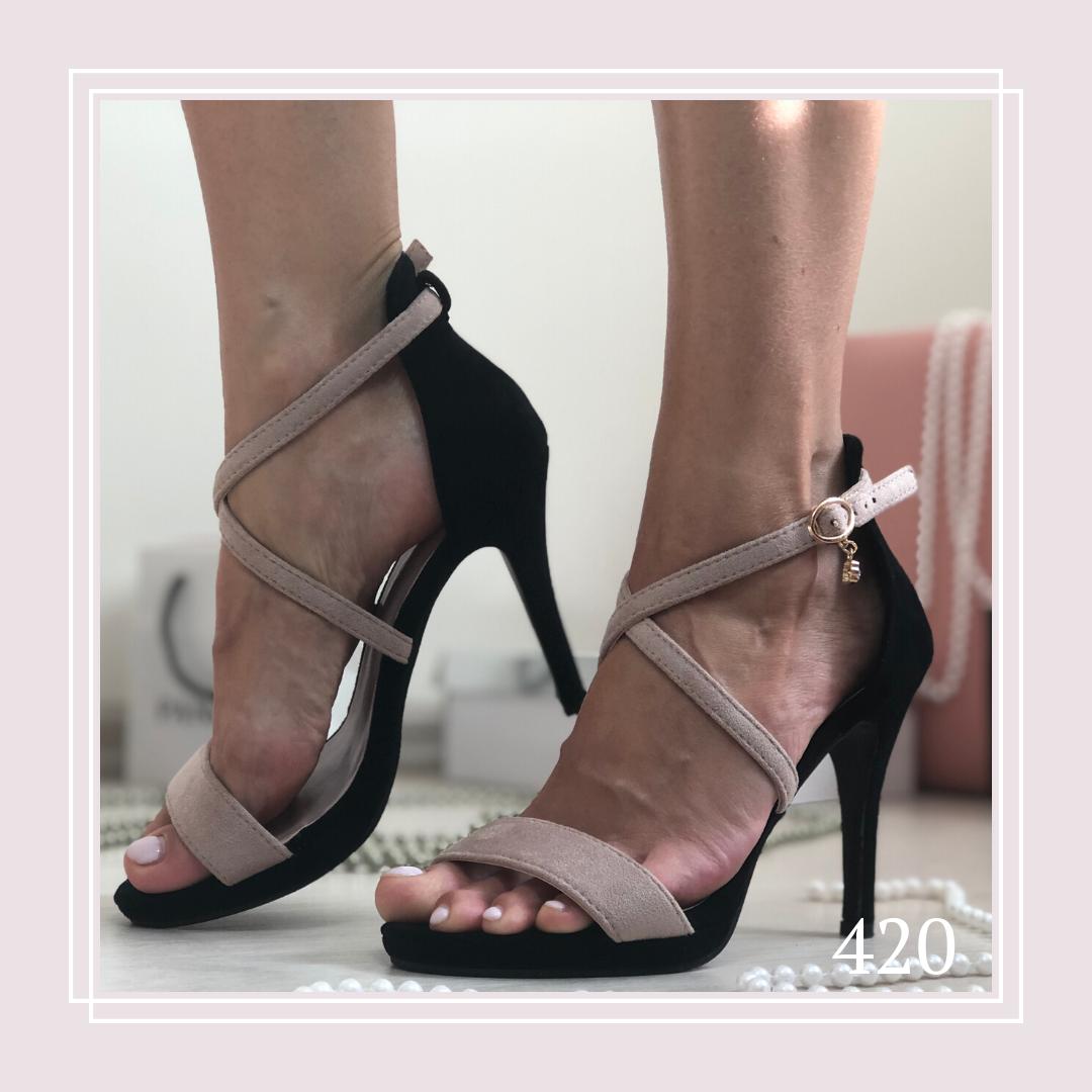 Женские босоножки на высоком каблуке шпильке, беж/черная замша