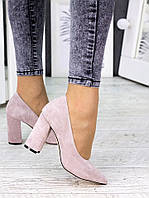 Туфли на каблуке пудра замша 7243-28, фото 1