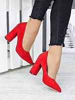 Туфли на каблуке красная замша 7244-28, фото 1