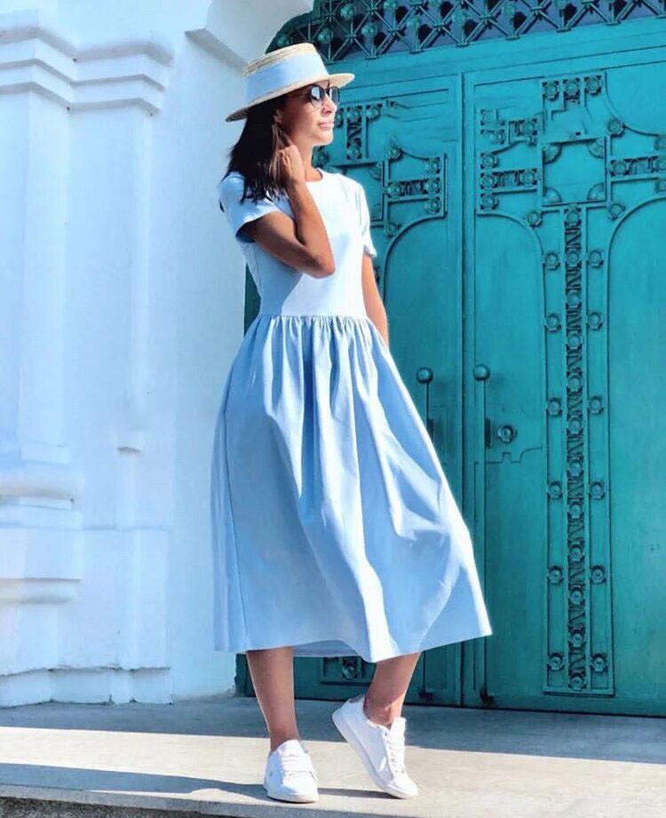 Платье летнее изхлопка с высокой талией