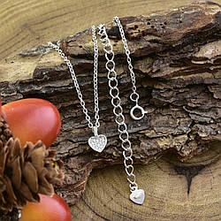 Серебряное колье Сердце с фианитом длина 38+7 см ширина 1 мм вес 2.27 г