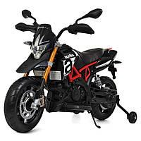 Детский электро-мотоцикл на аккумуляторе Aprilia M 4252EL-2 для детей 3-8 лет с мягкими EVA колесами черный