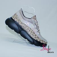 Женские кожаные кроссовки оригинальной расцветки