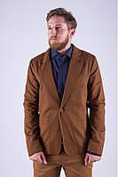 Стильный мужской класический пиджак на одну пуговицу терракотовый