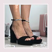 Женские босоножки на высоком каблуке и стрипе, черная замша, фото 1