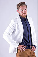 Стильный мужской класический пиджак на одну пуговицу белый