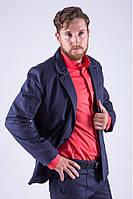Стильный мужской класический пиджак на одну пуговицу синий