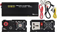 Профессиональный преобразователь инвертор UKC 12V-220V RCP-2000W + USB Black (4146)