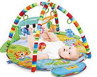 Развивающий детский музыкальный коврик Huanger HE0610 с микрофоном, пианино и подвесками Color