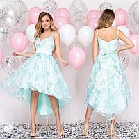"""Платье бирюзовое со шлейфом коктейльное, вечернее """"Роксана"""", фото 1"""