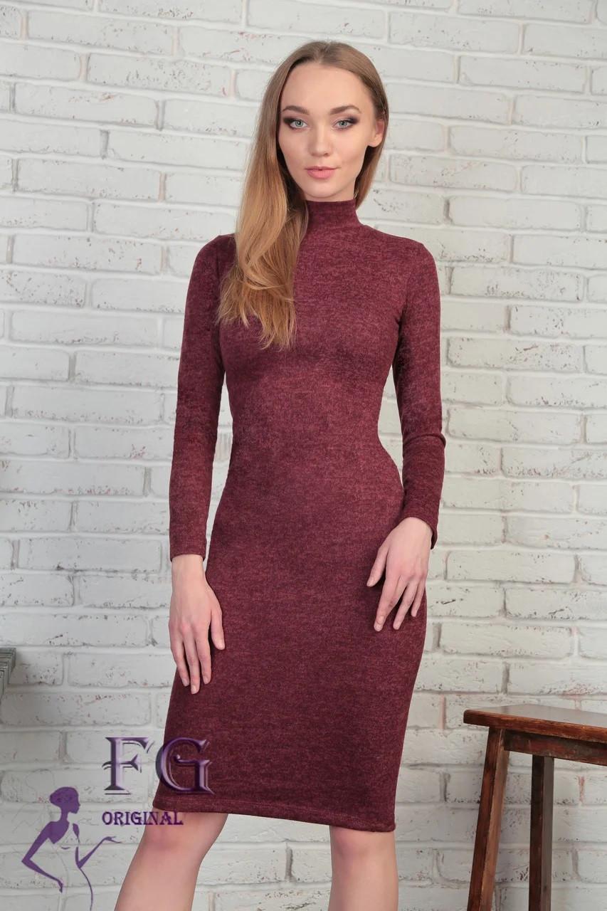 Стильное платье до колен в обтяжку длинный рукав бордовое