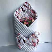"""Одеяло-конверт на выписку для новорожденных Солодкий Сон хлопок/плюш 80х100 см. """"Перья"""" Белый, фото 1"""