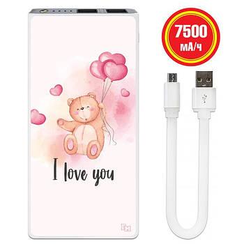 Внешнее зарядное устройство I Love You, 7500 мАч (E189-55)