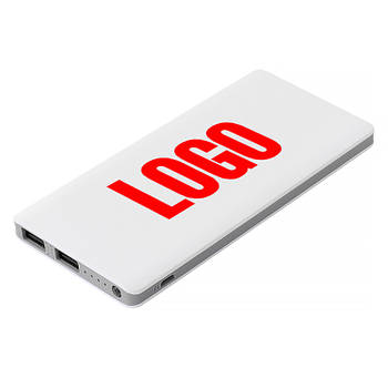 Повербанк пластиковый 7500 mAh белый под печать логотипа (Е189-7500)