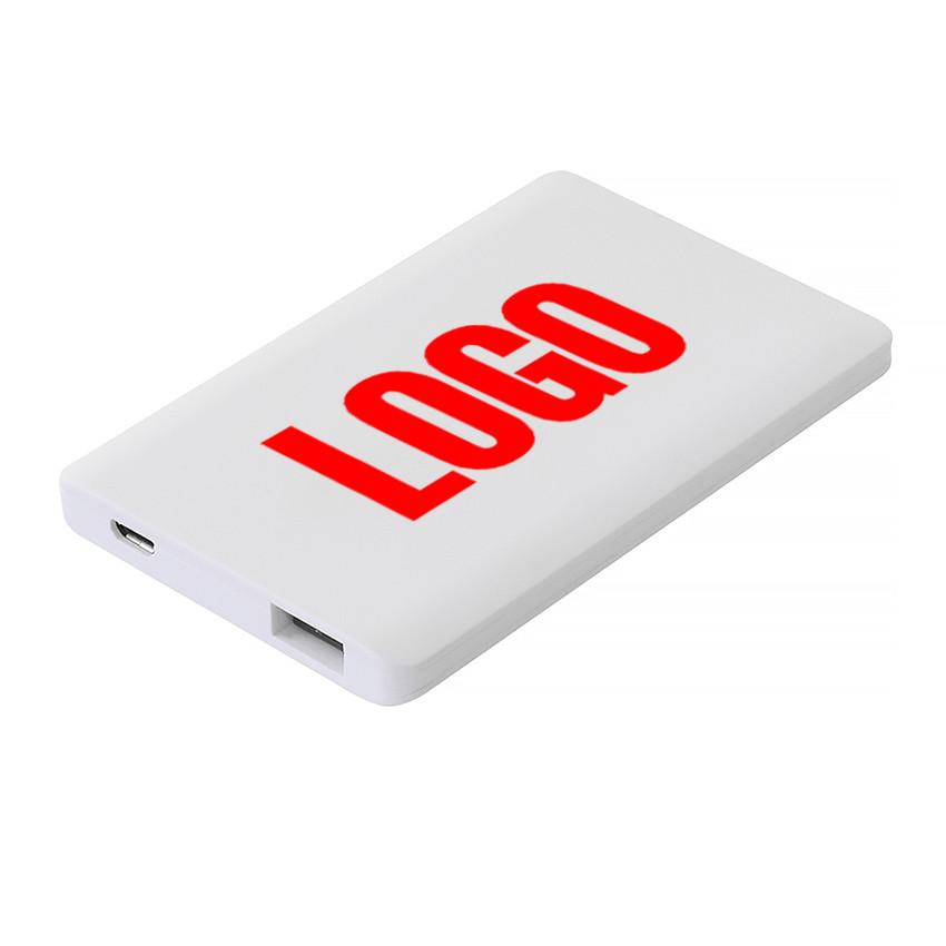 Power Bank пластиковий 2000 mAh білий Кредитна картка під нанесення (Е284-2000)