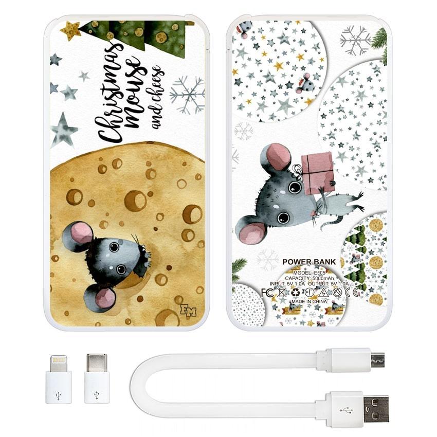Дополнительный мобильный аккумулятор Новогодний сыр, 5000 мАч (E505-45)