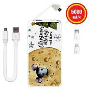 Дополнительный мобильный аккумулятор Новогодний сыр, 5000 мАч (E505-45), фото 2
