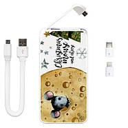 Дополнительный мобильный аккумулятор Новогодний сыр, 5000 мАч (E505-45), фото 3