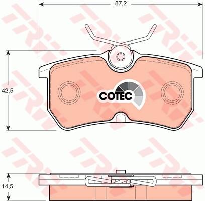 Колодки тормозные задние FORD FIESTA, FOCUS (TRW). GDB1354