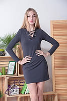 Модное облегающее платье мини шнуровка графит