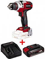 Набор шуруповерт Einhell TE-CD 18 Li E - Solo + зарядное устройство и аккумулятор 18V 2,5 Ah