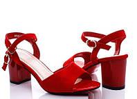 Женские замшевые босоножки красного цвета на среднем каблуке 36 37 38 39 40
