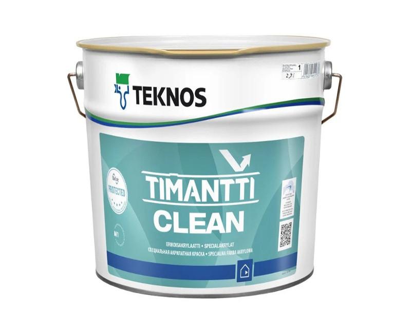 Фарба антимікробна з сріблом TEKNOS TIMANTTI CLEAN для вологих приміщень біла (база 1) 2,7 л