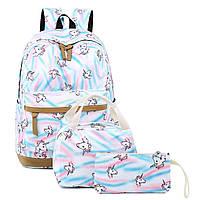Школьный рюкзак Единороги с ланчбоксом и пеналом Girls Unicorn Backpacks, фото 1