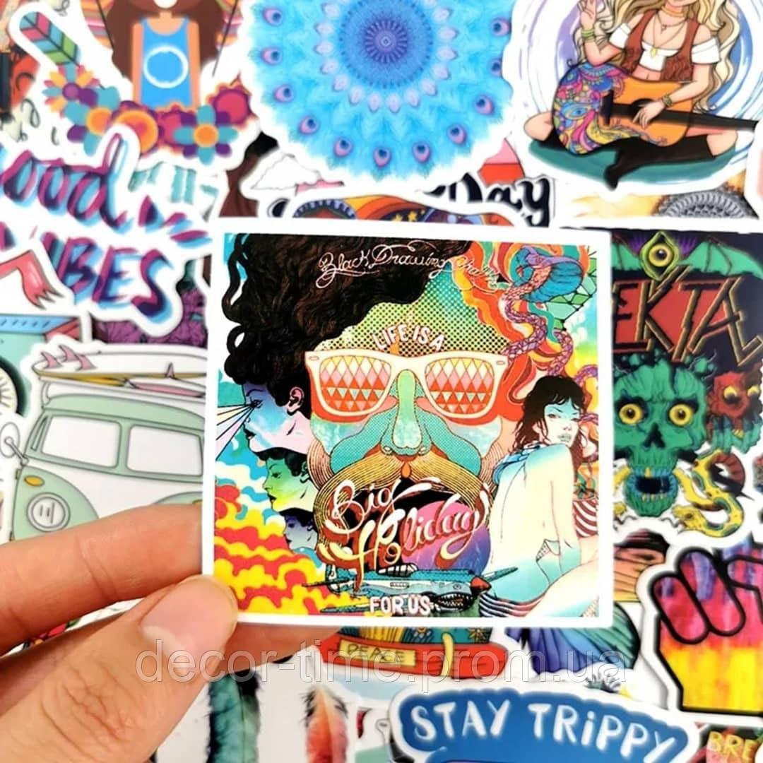 """25шт. Наклейки стикеры на ноутбук, скутер , скейт, шлем, автомобиль """"Хиппи"""" (273847584)"""