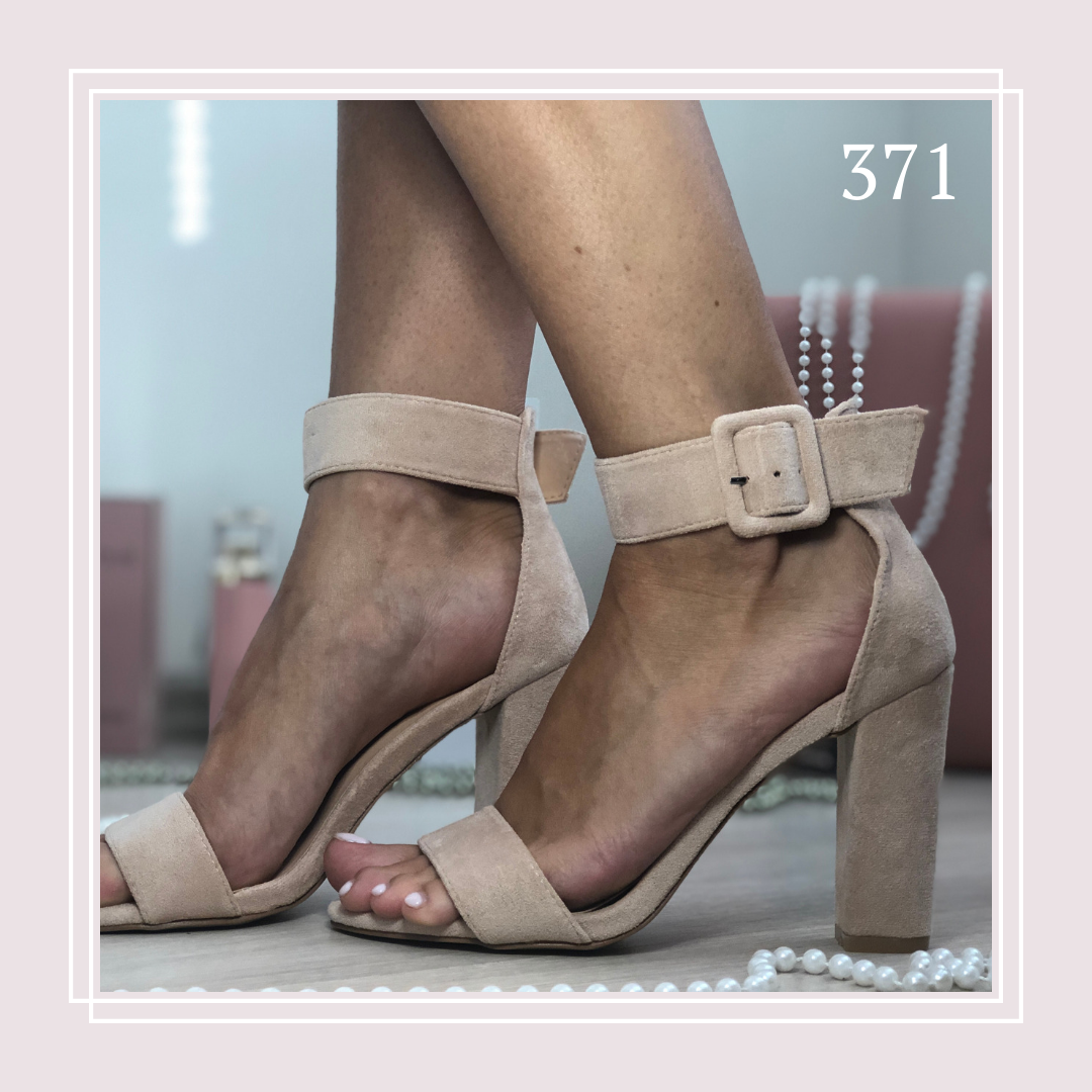 Женские босоножки на устойчивом высоком каблуке, беж замша