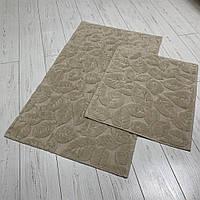 Набор ковриков  для ванной комнаты Листья 1. Турция, бежевый