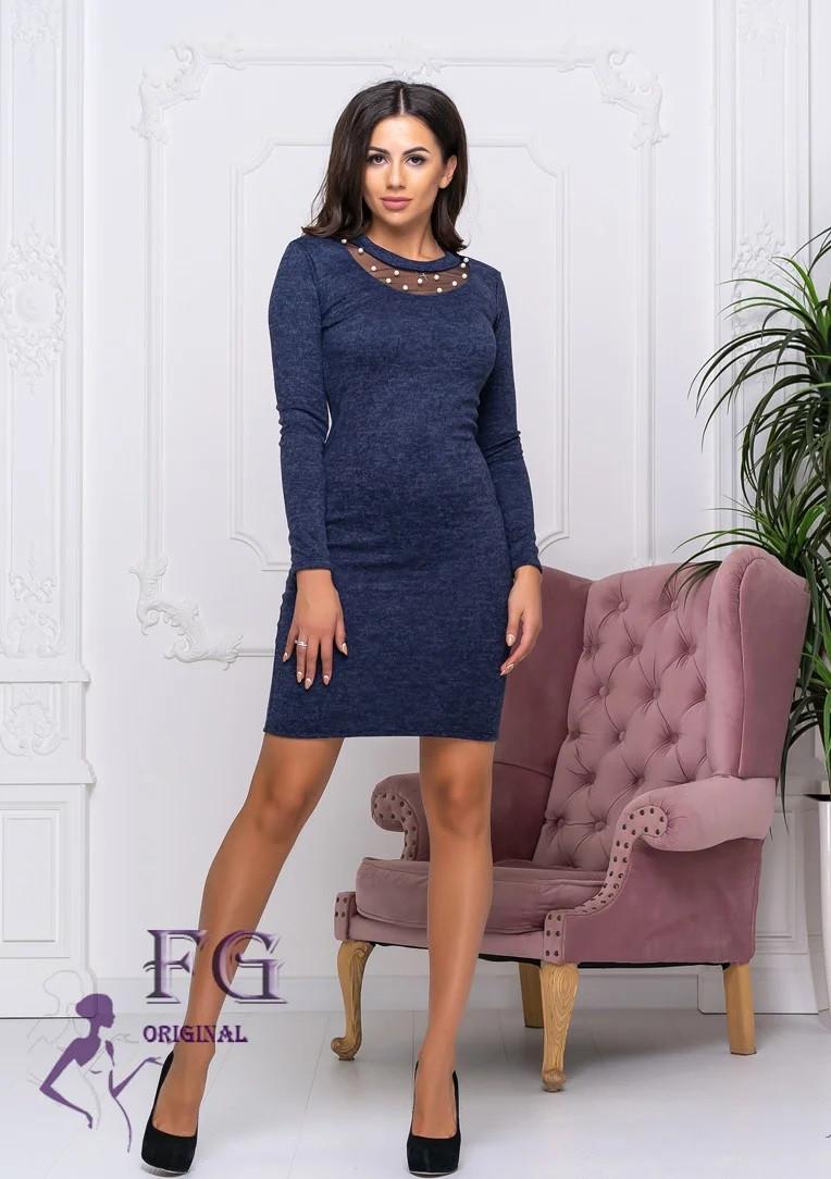 Стильное платье прямого кроя миди сетка в области декольте темно-синее