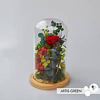 Долговечный подарок на 8 Марта - роза в колбе «Green&red»